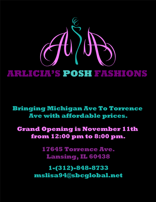 A design that I created for the fourth version of the Arlicia's Posh Fashions flyer.