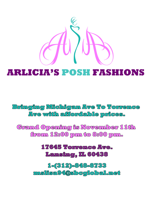 A design that I created for the fifth version of the Arlicia's Posh Fashions flyer.