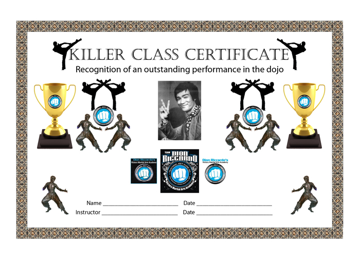 A design that I created for the Victory MMA Killer Class Certificate.