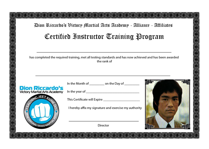 A design that I created for the Victory MMA Certified Instructor Certificate.
