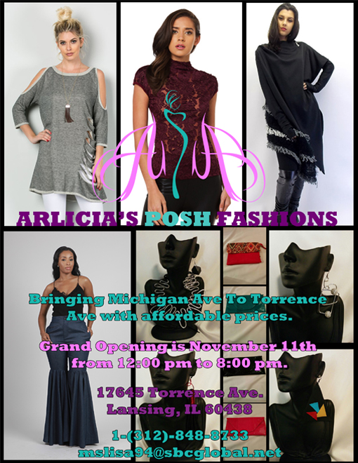 A design that I created for the first version of the Arlicia's Posh Fashions flyer.